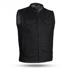 Men's Denim Motorcycle Vest - Black