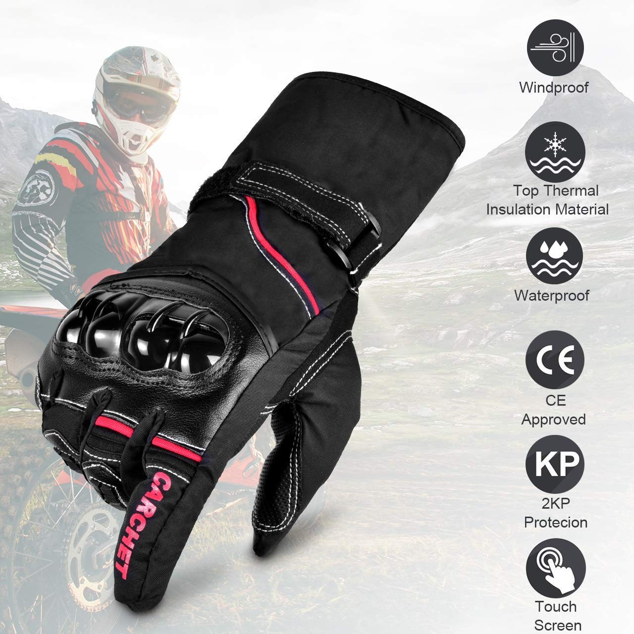 Motorcycle Gloves Winter, Gloves Waterproof Touch Screen
