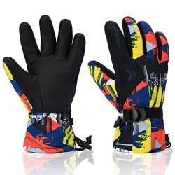 Ski Gloves,100% Waterproof Warm Snow Gloves for Mens, Womens, and Kids