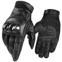 Motorcycle Gloves Genuine Leather Full Finger with Touchscreen Hard Knuckle