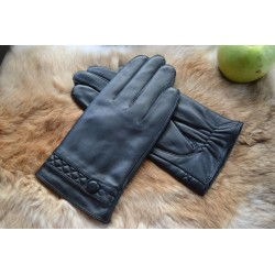 Women′s Cashmere Lined Lambskin Leather Gloves with Buttons