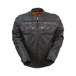 Leathers Men's Reflective Skulls Black Leather Jacket
