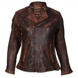 Women's Classic Lightweight Vintage Brown Leather Jacket