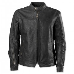 Men's Black Perforated Leather Jacket