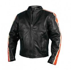 Men's Leather Jacket with Arm Stripes
