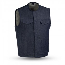 Mens  Blue Denim Motorcycle Vest