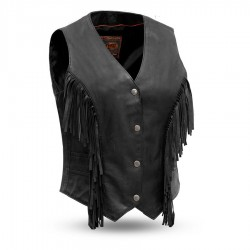 Womens Fringe Leather Vest